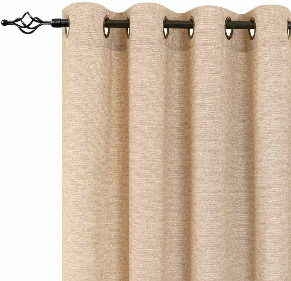 Linen Textured Curtains Living Window Treatment 2