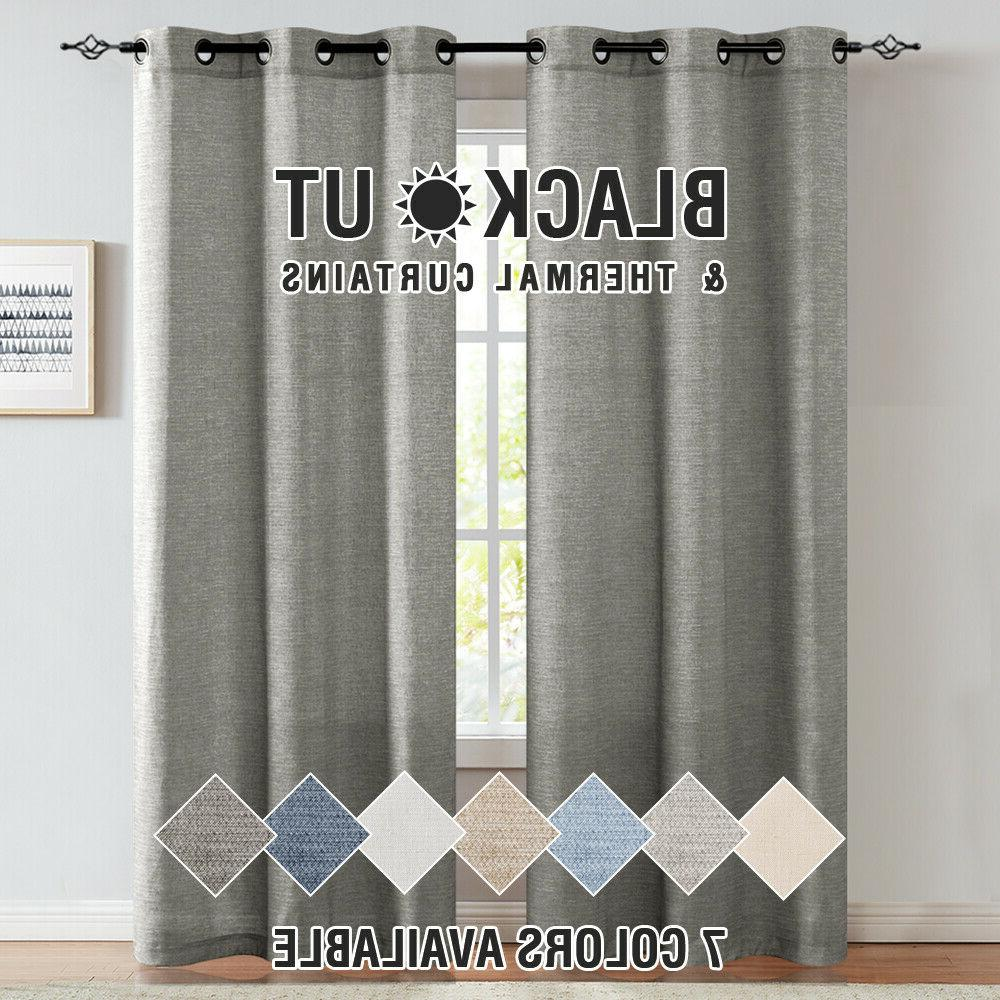 linen textured curtains for living room grommet