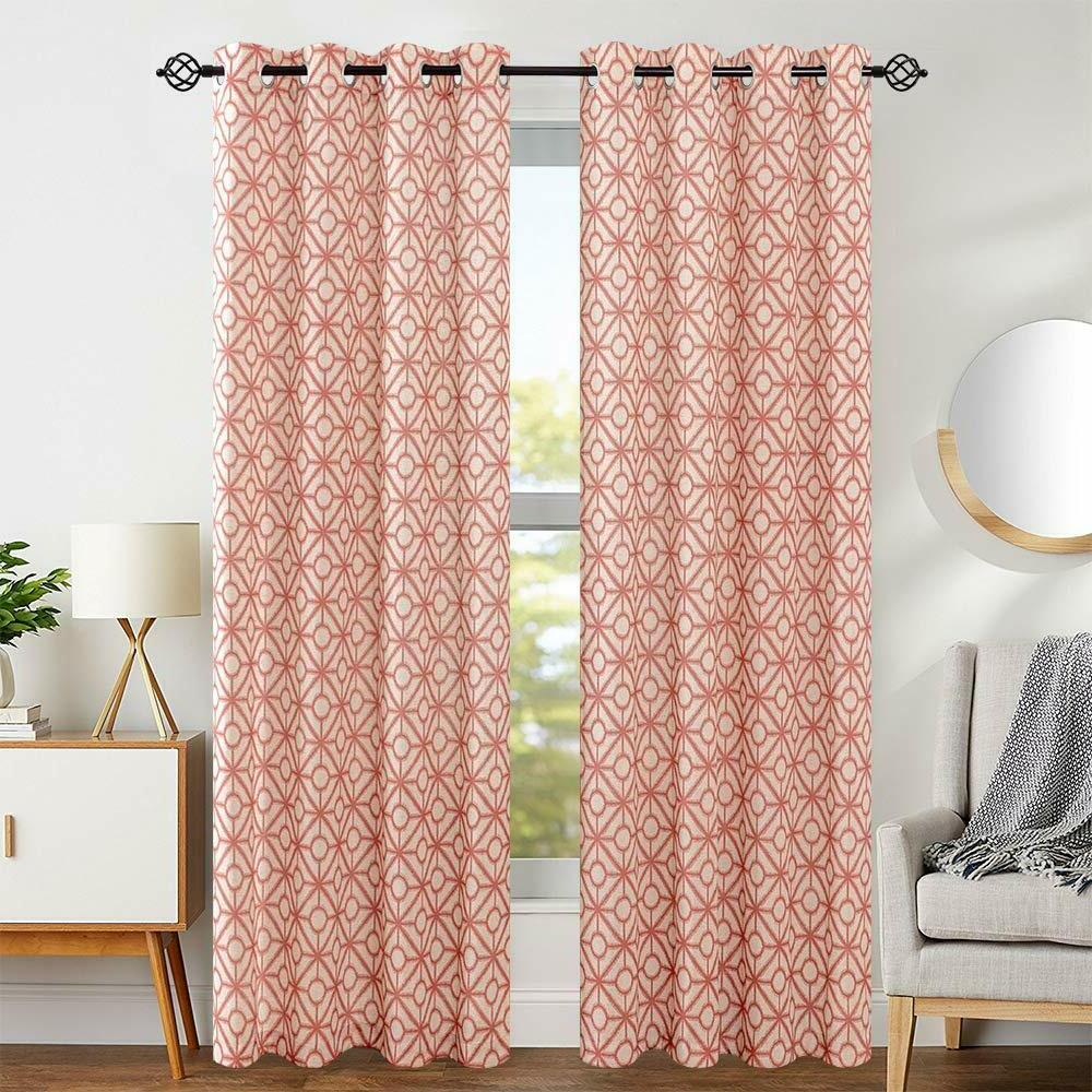 Curtains Linen Textured Print Moroccan Grommet Top Geometric