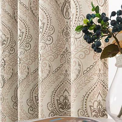 medallion linen textured curtains for living room