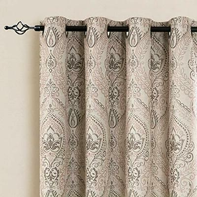 Medallion Linen Curtains for Room Inch Length Drapes Damask P