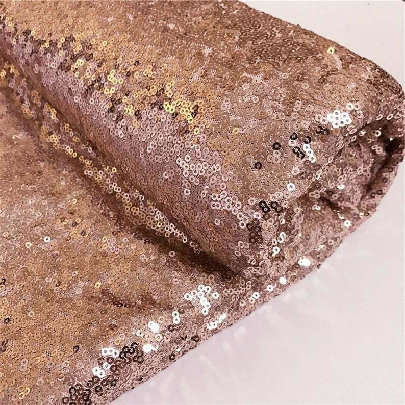 Rose Gold Sequin Fabric, By The Yard, Sequin Fabric, Tablecl