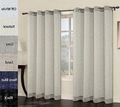 set of 2 faux linen sheer curtain