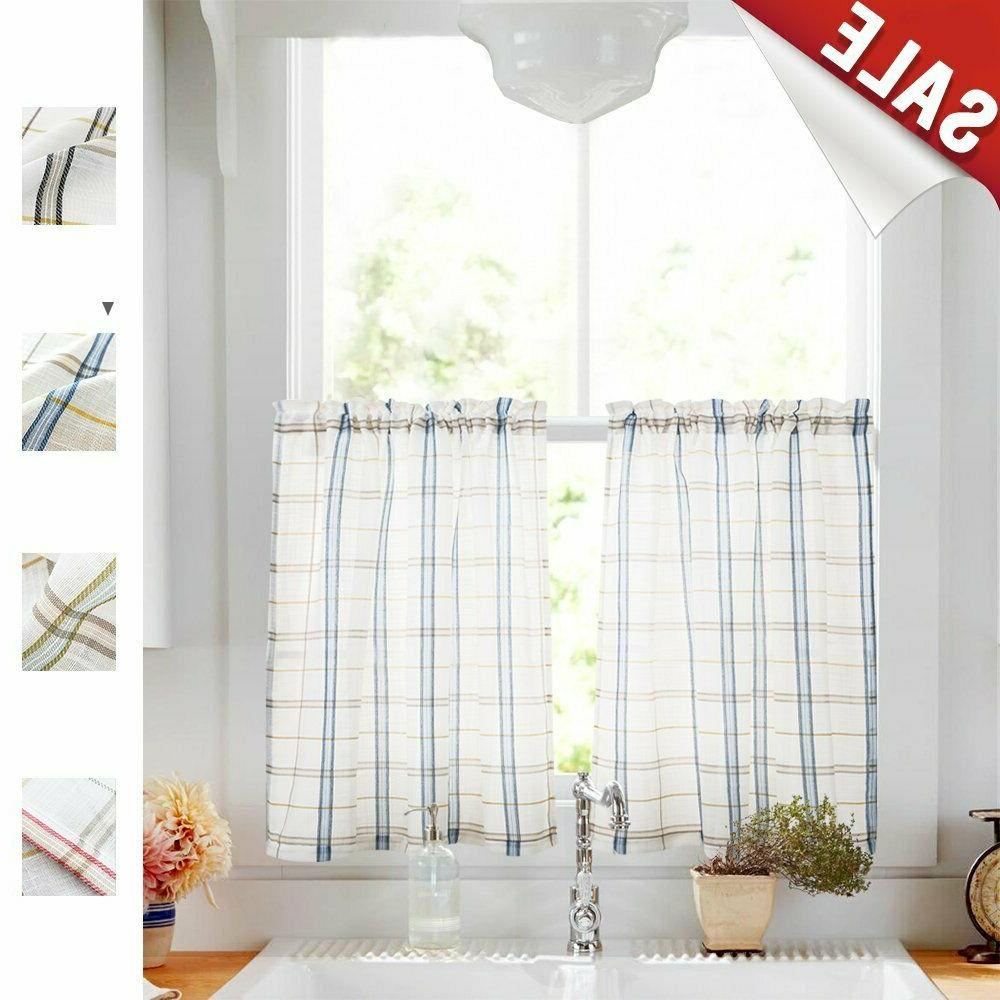 Tier Curtains for Sheer Curtains Checkered Linen