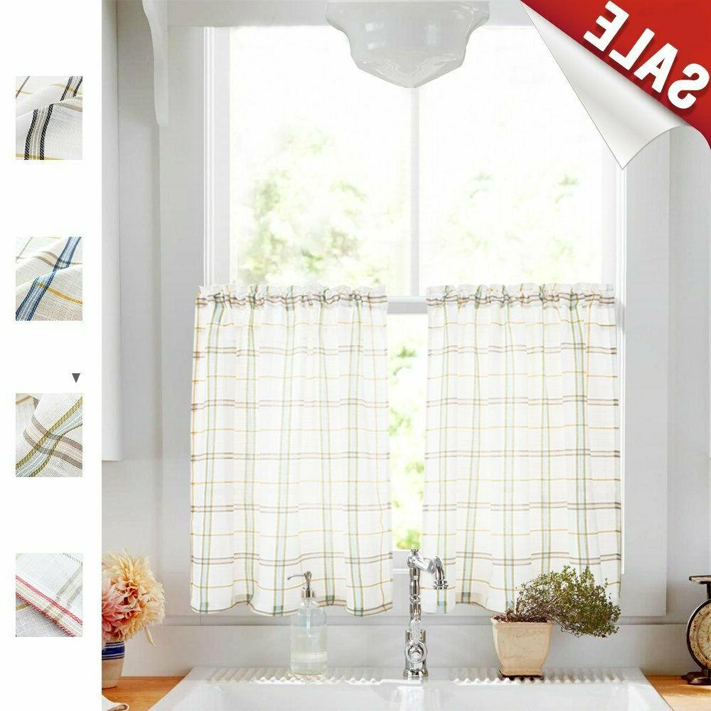 Tier Curtains Sheer Checkered Gingham Linen
