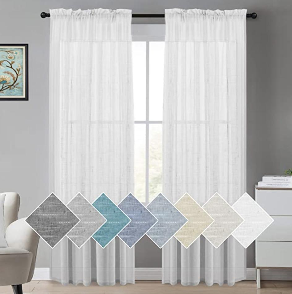 turquoize white linen sheer curtains natural linen