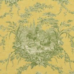 WAVERLY LA PETITE FERME BANANA YELLOW ROOSTER FRENCH TOILE F
