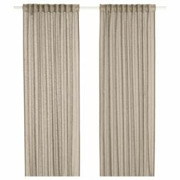 "IKEA LEJONGAP LINEN CURTAINS 57"" x 98"" - 2 PANELS BEIGE  404"