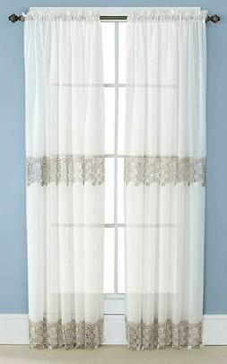 Lillian Macrame Embroidered Lace Curtains, Rod Pocket Top