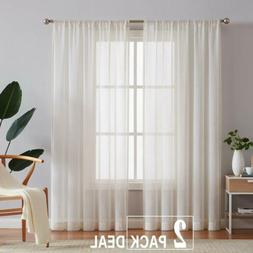 Linen Blend Sheer Curtains Window Drapes Vintage for Farmhou