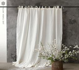 LINEN CURTAIN- Stonewashed linen off white curtain with ruff
