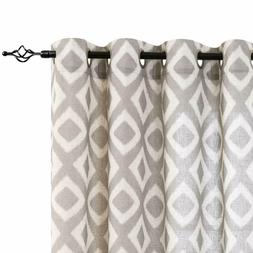Linen Curtains for Living Room Geometric Ogee Patterns Desig