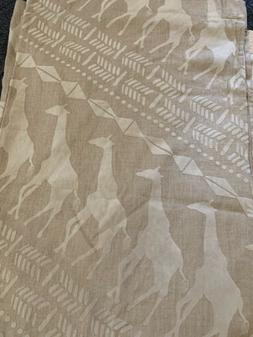 "Anthropologie Linen Giraffe Curtain Panel 50""x 96"" Velve"