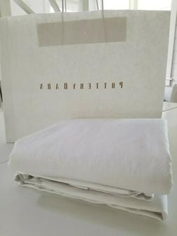 "Pottery Barn Linen Silk Blend Curtain Lined 50x108"" White NE"