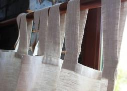 Linen Curtain Panel with White Cotton Lining - Tab Top Linen