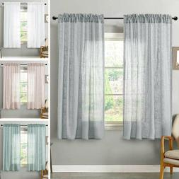 Linen Textrued Sheer Curtains for Living Room Semi Sheer Lig