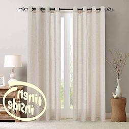 Linen Textured Curtain Living Room Grommet Window Treatment