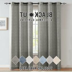 Linen Textured Curtains for Living Room Grommet Top Window T