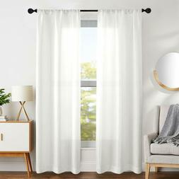 Linen Textured Curtains for Living Room Light Filtering Rod