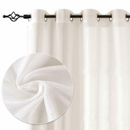 Linen Textured Transparent Grommet Curtain Made of Flax and