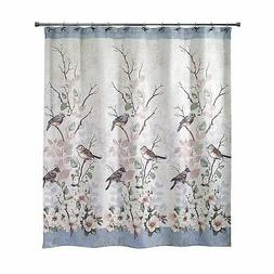 Avanti Love Nest Beaded Bird Magnolia Fabric Shower Curtain