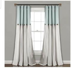 "Lush Decor Linen Button Window Curtain Single Panel, 84"" x 4"