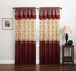 Luxury Window Panel Valance Sheer Curtain Set Home Embroider