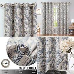 Medallion Linen Textured Curtains For Living Room 84 Inch Le