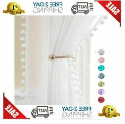 Miulee Linen Textured Window Sheer Curtains With Pom Pom For