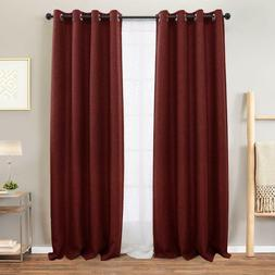 Moderate Blackout Linen Textured Curtains for Bedroom Room D