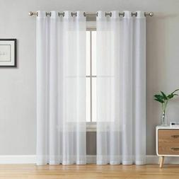 Modern Curtains Solid Color Tulle Living Room Bedroom White