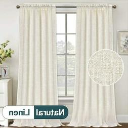 Natural Linen Curtains 108 Inches Extra Long Rod Pocket Semi
