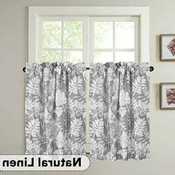 Natural Linen Kitchen Curtain Tier Pair 24 Inches Length Sma