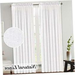 Natural Rich Linen Curtains Semi Sheer for Bedroom/Living Ro