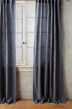 ANTHROPOLOGIE NAVY LINEN/COTTON CURTAINS 50X108 2 PANELS