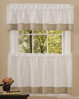 NEW - Oakwood Embroidered Linen Style Kitchen Curtain Window