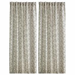 NEW Ikea Pair Ryssby 2014 Linen Curtains Natural with Black