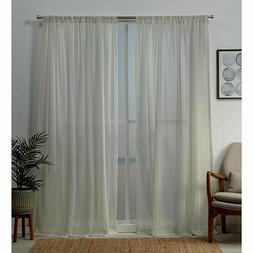 NEW Exclusive Home Santos Window Curtains Panel Pair - Linen