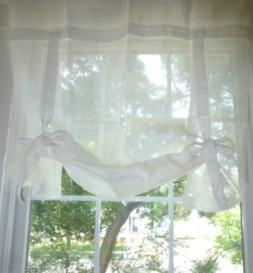 POTTERY BARN KIDS White Pink Sage Linen RIBBON TIE Curtain D