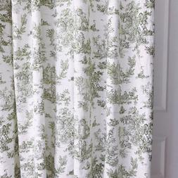 Handmade Olive Vintage Farm Scenery Washed Linen Curtain 84