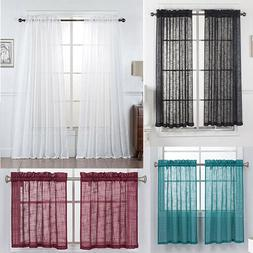 2 Piece Linen Semi Sheer Curtains, Rod Pocket Sheer Privacy