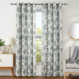 Paisley Scroll Printed Linen Textured Curtains Grommet Top 1