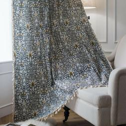 Perris Pattern Provence Print Partition Linen Curtain Tassel