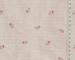 Pink plaid taffeta fabric embroidered flower Clarence House