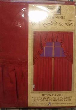 RED SOLID COLOR LINEN WEAVE 36 INCH LONG TIER CURTAIN AND SW