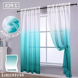 Reversible Ombre Curtains Teal White Sheer Window Curtain Pa