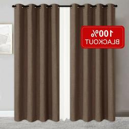 Rose Home 100% Blackout Curtains  Bedroom Linen Textured Loo