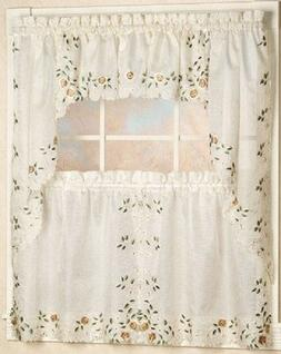 rosemary embroidered floral kitchen curtain collection linen