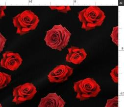 Roses Red Black Flowers Florals Fashion Home Fabric Printed