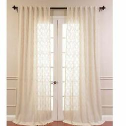 Exclusive Fabrics Saida Embroidered Faux Linen Sheer Curtain